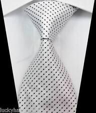 New Classic Stripes Dots White Black JACQUARD WOVEN 100% Silk Men's Tie Necktie