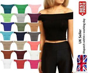 Off Shoulder Womens Tshirt Crop Top Short Mini Girls Sleeveless Vest Bardot Neck