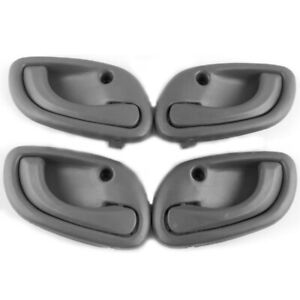 4 X Fit For 99-01 Suzuki Baleno Inside Door Handle Left Right Gray For Car Auto