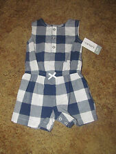 Girls Carter's NWT blue and white plaid sleeveless romper size 6 months