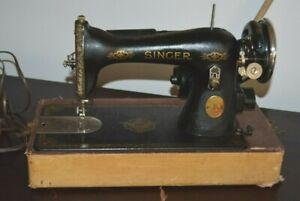 Vtg 1937  Singer 15 Sewing Machine & Case AE748232 Pretty!