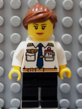 LEGO Female Girl Airline Pilot White Top with Wings & ID Badge Brown Hair