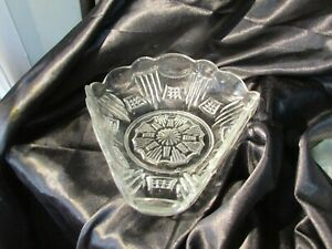 ANTIQUE CROWN CRYSTAL TRIANGLE WAFFLE & COMB BOWL