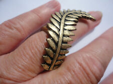 Statement deco style 5cm curved fern signed 18 size P 12 gram brasstone ring