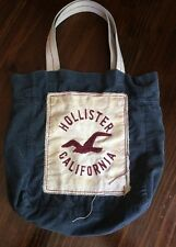 Hollister tote bag blue maroon logo California 100% COTTON CORDUROY beach school