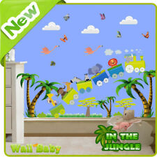 Animal Train Wall Stickers Zoo Jungle Nursery Baby Kids Room Decals Art Mural