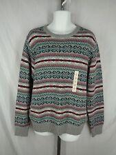 Sonoma Fair Isle Sweater Mens Size XL Gray Multi-Color Crew Neck NEW