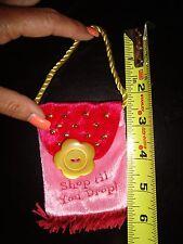 """6.5"""" Pink Velour Fringed/Gold Beads """"Shop Til You Drop"""" Bag ~ Gift Card Holder"""