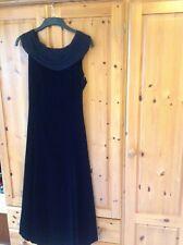 LAURA ASHLEY VINTAGE BLACK VELVET POSTERIORE BOW CREPE COLLARE Party Dress 12 in buonissima condizione