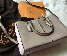 Tod's, Messenger Bag, Leather Convertible Mini Tote Bag, Beige/ Lavender