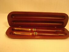 VINTAGE cherry wood 2 PEN SET IN WOODEN CASE