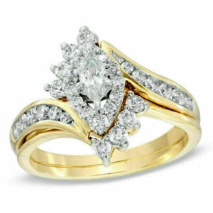 2Ct Marquise/Round Cut Diamond Cluster Women Engagement Ring 14KYellow Gold Over