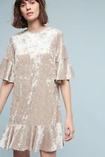 NWT $138 Anthropologie Velvet Flutter Dress by Sunday in Brooklyn,XSP, Shinning