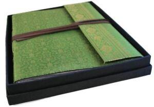 Sari Silk Photo Album, Large Olive - Handmade by Life Arts
