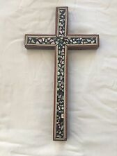 "Large Egyptian Inlaid Wooden Cross 11.5"": Unique Gift  # 221"