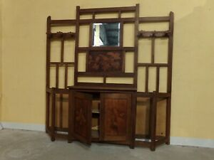 Arts and crafts Oak  poker work hall stand C1900 (HS262)