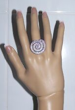 LARGE STATEMENT RING size 9 18K WG-FILLED AAA CLEAR CZ NAUTILUS round & baguette
