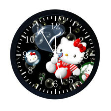 Hello Kitty Black Frame Wall Clock Nice For Decor or Gifts W06