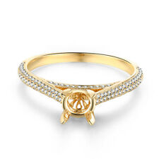 6mm Round Solid 10k Yellow Gold Engagement Natural SI/H Diamonds Semi Mount Ring