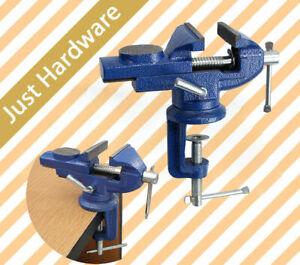 "60mm 2"" Mini Bench Vice Swivel Clamp Base TABLE Anvil Cast Iron Portable AU"