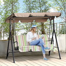 Porch Swing Hammock Bench Lounge Chair Steel 3-seat Padded Outdoor w/ Canopy