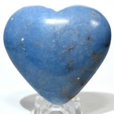 55mm Peruvian Angelite Puffy Heart Blue Natural Crystal Sparkling Mineral Stone