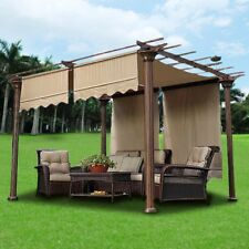 2pcs 15.5x4Ft Pergola Canopy Replacement Cover Tan UV20+ 180g w/ Valance
