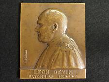 PLAQUE BRONZE R.PERSIN 1913  à LEON DEVIN BATONNIER AU BARREAU DE PARIS 90mm