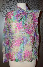 Vintage Pink Green Floral Semi-sheer TEDDI tie Bow neck nylon Blouse top M/L 60s