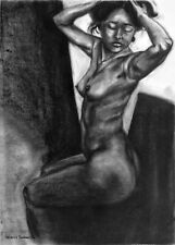Original Charcoal Nude Female Figure Drawing Large Realism Black White Gesture