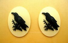 2 BLACK BIRD GOTH CROW RAVEN on IVORY Color 40mm x 30mm Costume Jewelry CAMEOS