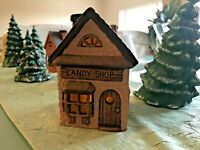 Ceramic Christmas Holiday Village 3 Cottages 3 Trees