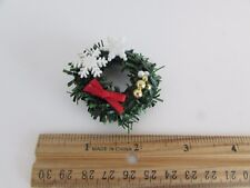 Dollhouse Miniature - Wreath with Red Bow, Gold and White Balls and Snowflakes