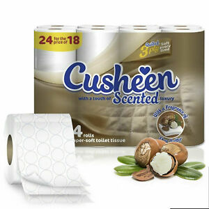 Cusheen Quilted Shea Butter 3 Ply Toilet Paper Rolls Choose a Pack *24/48/72/96*