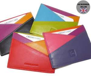 Slim Quality Genuine Leather Colourful Credit Card Holder - Multicolour 772