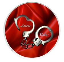 "50 Shades of Grey Round Coaster. ""Laters Baby"" on a red satin background"