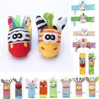 Cute Animal Infant Newborn Baby Kids Hand Wrist Bell Foot Sock Rattles Soft Toys