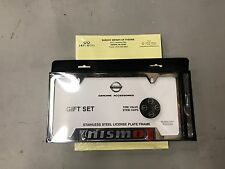 GENUINE NISSAN CHROME NISMO LICENSE PLATE FRAME AND VALVE STEM CAP SET NEW OEM!