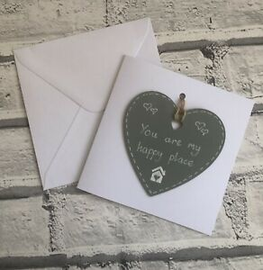 You are my happy place Grey Wooden Heart Keepsake Handmade Card Someone Special