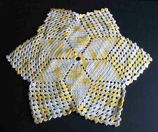 "Hand made Crocheted Acrylic YARN 23"" Doily 6 pt Yellow Centerpiece vtg FREE SH"