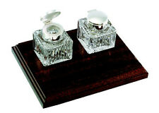 DOUBLE SILVER AND GLASS INK WELL ON MAHOGANY STAND