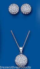 Argent Solide Pendentif et Earrings Set Cristal Autrichien