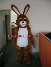New Professional Easter Halloween Brown Rabbit Bunny Mascot Costume Adult Size