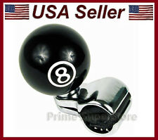 NEW BLACK POOL 8-BALL STEERING WHEEL SPINNER HANDLE CAR TRUCK SUICIDE POWER KNOB