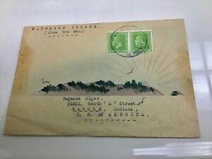 Rare 1930's Pitcairn Island Hand Painted Watercolor Cover Envelope W Stamps