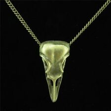 "11-5 Bronze Alloy Eagle Bird Head Skull Pendant Chain Collar Choker Necklace 18"""