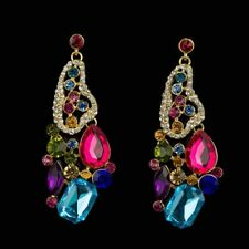 Colourful Crystal Abstract Earrings ZARA Statement Style Drop Large Fabulous