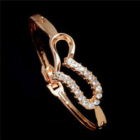 Amazing New Heart Austrian crystal 18K Rose gold Plated Lady's Bangle Bracelet