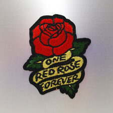 One Red Rose Forever Patch — Iron On Badge Embroidered Motif — Roses Flower