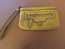 NINE WEST Small Yellow Leather Wristlet / Phone Wallet / Coin Purse